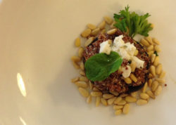Red Quinoa with Minted Goat Cheese & Toasted Pine Nuts